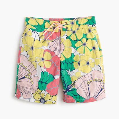 Boys' board short in punchy hibiscus