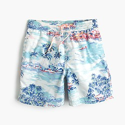 Boys' swim trunk in island bungalow print