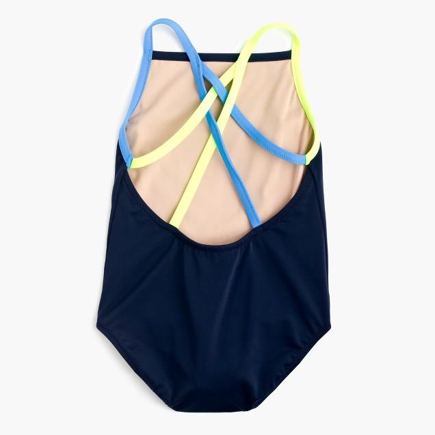 Girls' one-piece swimsuit in contrast stripe