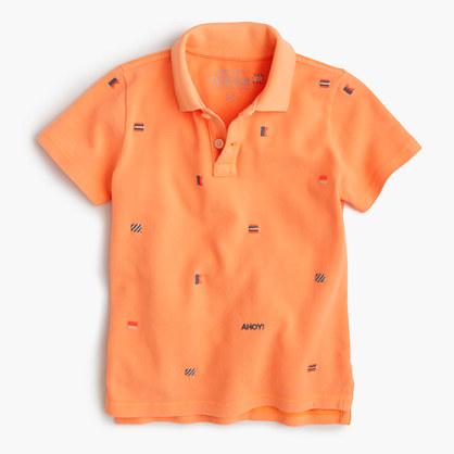 Boys' critter piqué polo shirt in ahoy flags