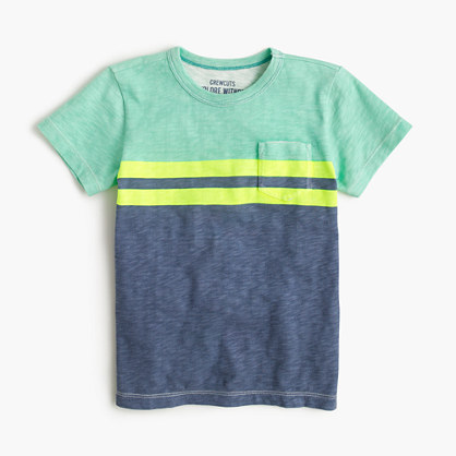 Boys' pocket T-shirt in vintage stripe