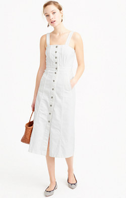 Button-front dress in white denim