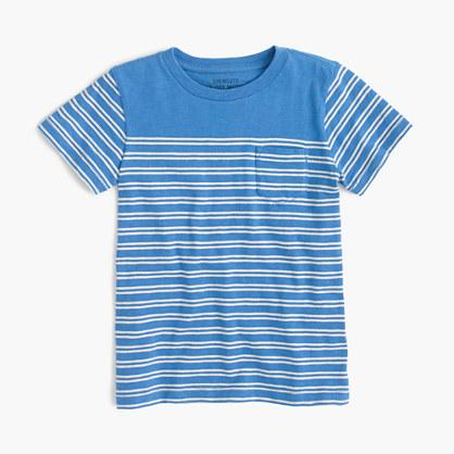 Boys' T-shirt in mini double-stripe