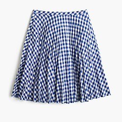 Gingham pleated mini skirt