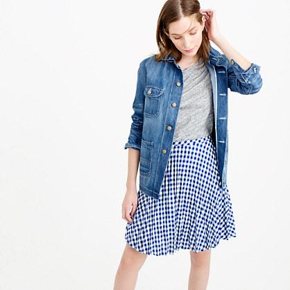 Petite gingham pleated mini skirt