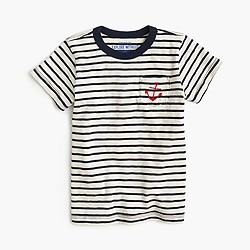 Boys' embroidered pocket T-shirt in nautical stripe
