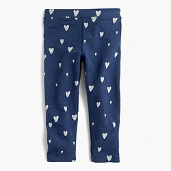 Girls' cropped everyday leggings in indigo heart