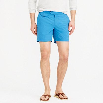 "6.5"" tab swim short with blue side stripe"