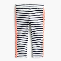 Girls' striped cropped everyday leggings with tux stripe