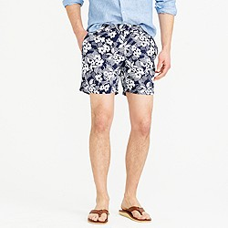 "6.5"" tab swim short in navy Hawaiian floral"