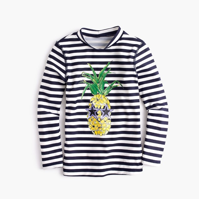 Girls' rash guard in cool pineapple