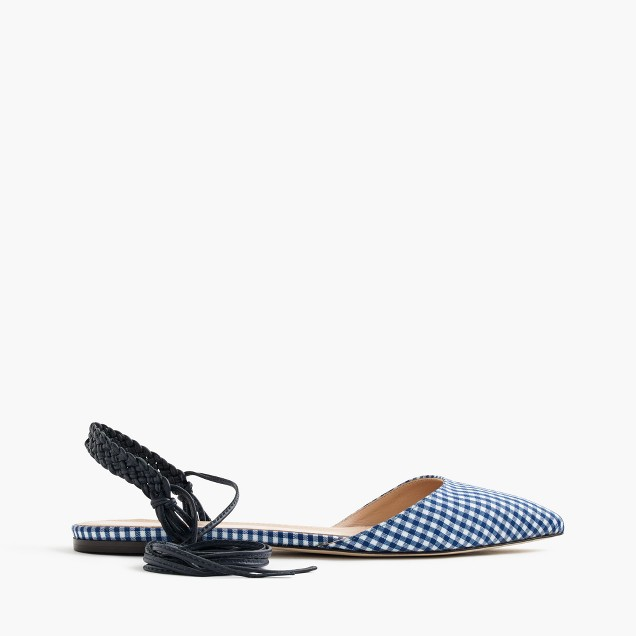 Slingback flats in gingham