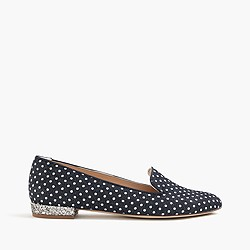 Polka-dot denim loafers with glitter heel