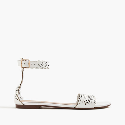 Leather eyelet sandals with ankle strap