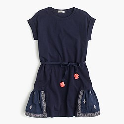 Girls' embroidered panel dress