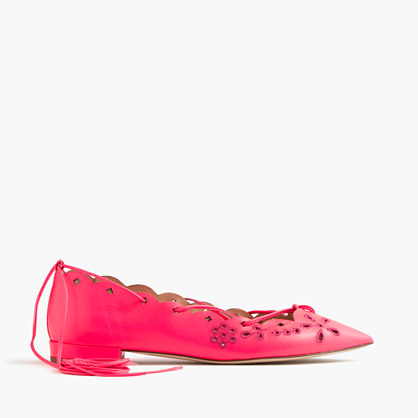 Leather eyelet lace-up flats