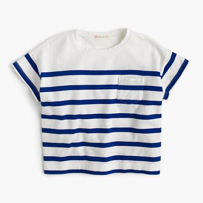 Girls' nautical-striped pocket T-shirt