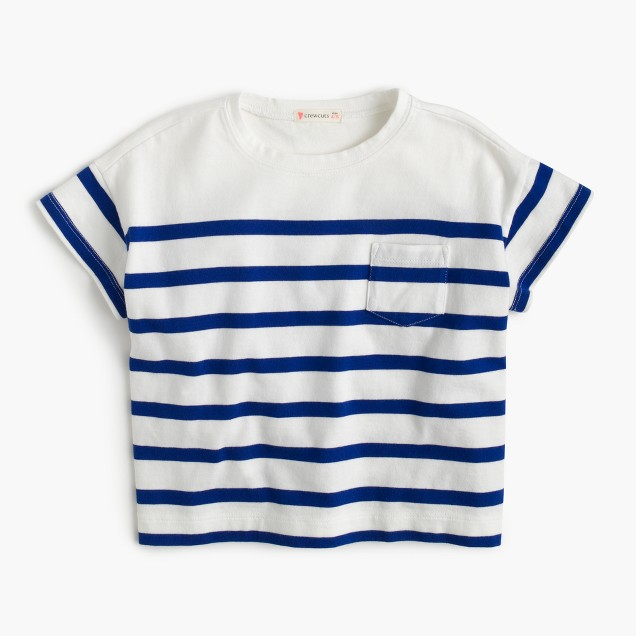 Girls' nautical-striped pocket T-shirt