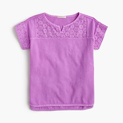 Girls' eyelet tunic top