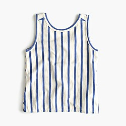 Girls' cross-back striped tank top