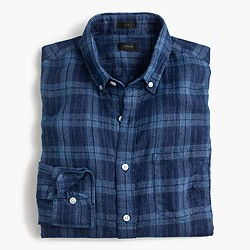 Slim Irish linen shirt in indigo plaid