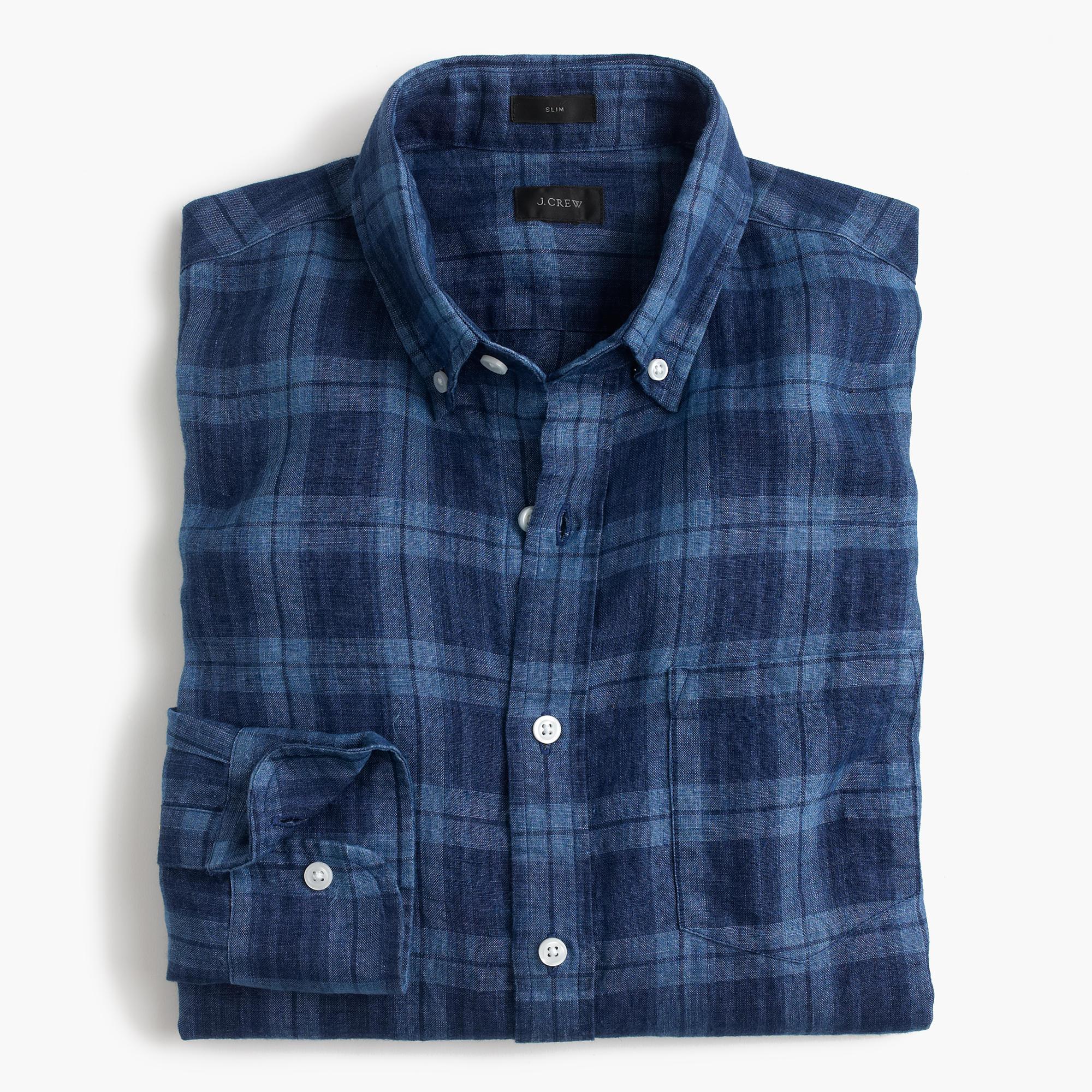 Slim irish linen shirt in indigo plaid j crew for Irish linen dress shirts