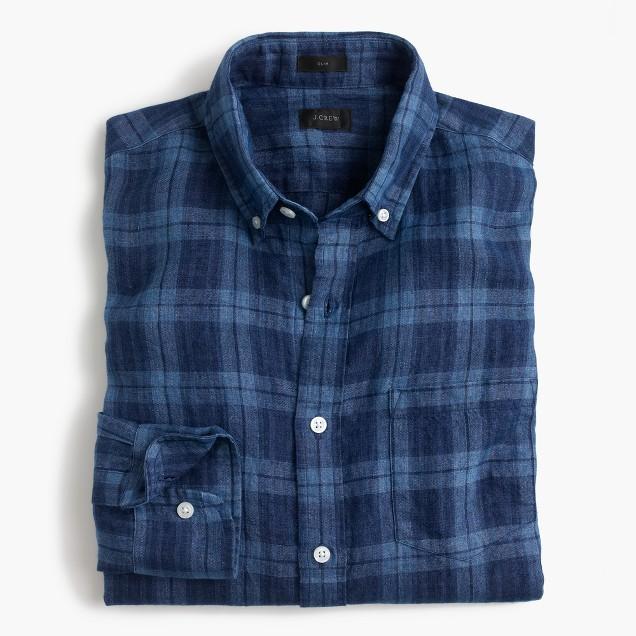 Slim Irish linen shirt in indigo plaid