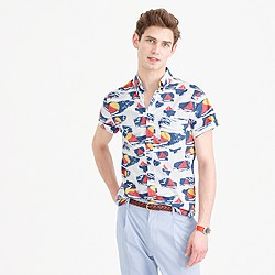 Short-sleeve shirt in sailboat print
