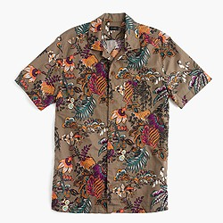 Short-sleeve camp-collar shirt in wild jungle print