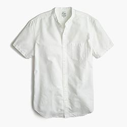 Short-sleeve lightweight oxford band-collar shirt