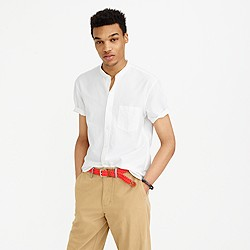 Short-sleeve lightweight oxford band-collar shirt