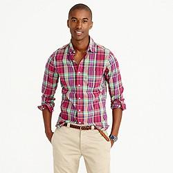 Slim Indian madras shirt in pale burgundy