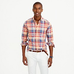 Slim Indian madras shirt in autumn leaf
