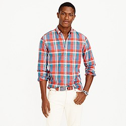 Slim Indian madras shirt in poppy