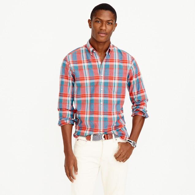 Slim Indian madras shirt in poppy