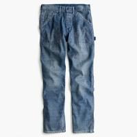 Wallace & Barnes slim cotton-linen carpenter jean in river wash