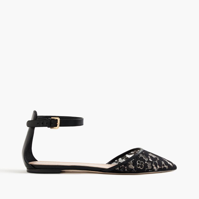 Lace flats with ankle strap