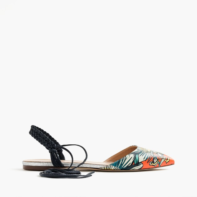 Slingback flats in punchy floral