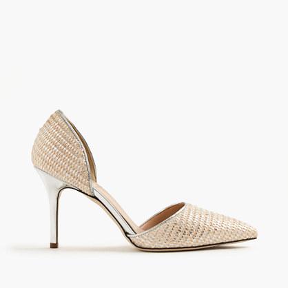 Elsie metallic woven d'Orsay pumps
