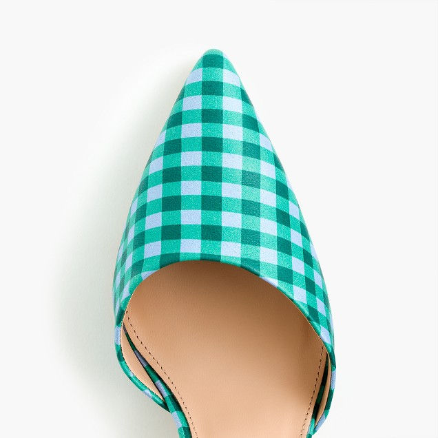 Elsie gingham d'Orsay leather pumps
