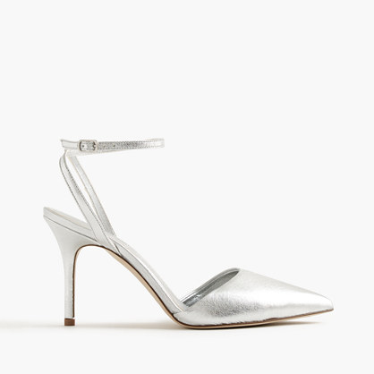 Elsie metallic ankle-wrap pumps