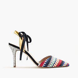 Elsie geometric ankle-tie pumps