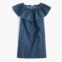 Girls' chambray two-way ruffle dress