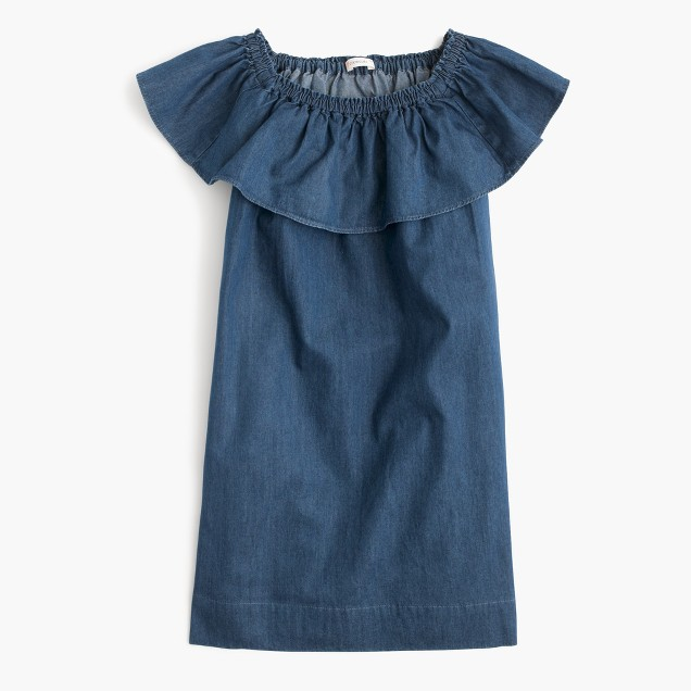 Girls' chambray two-way ruffle dress