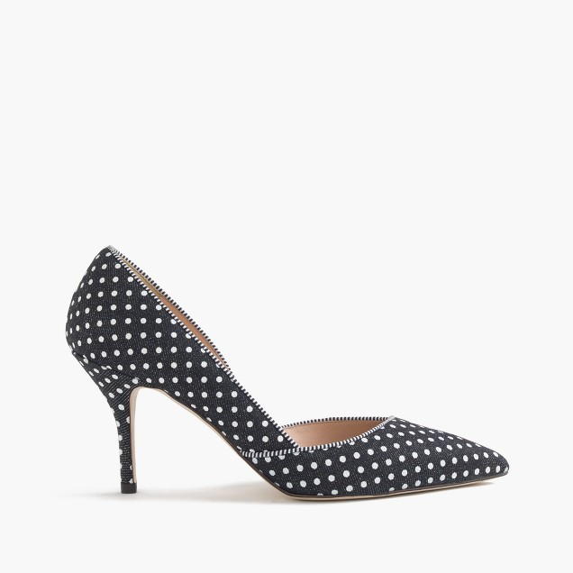 Colette d'Orsay pumps in polka-dot denim