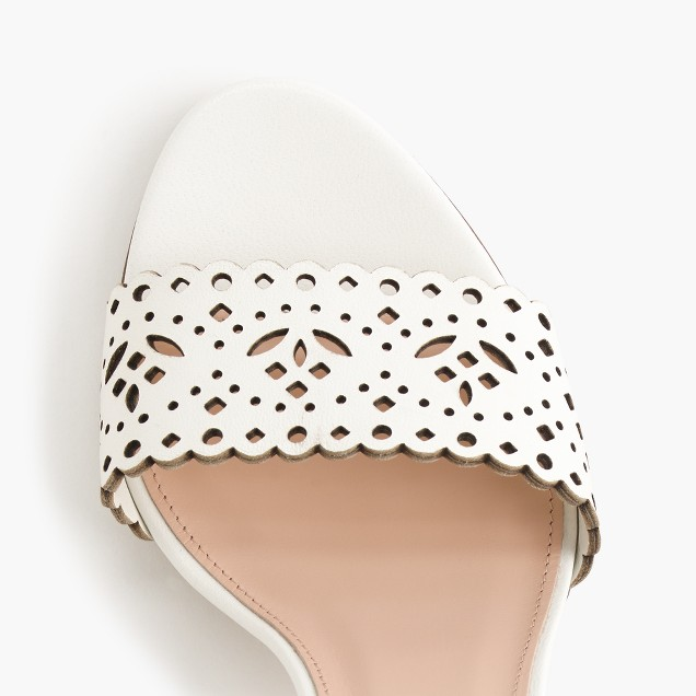 Leather eyelet high-heel sandals