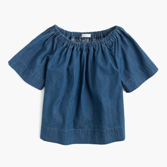 Girls' chambray two-way ruched top