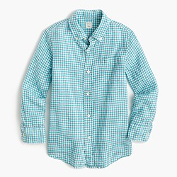 Kids' Irish linen shirt in check