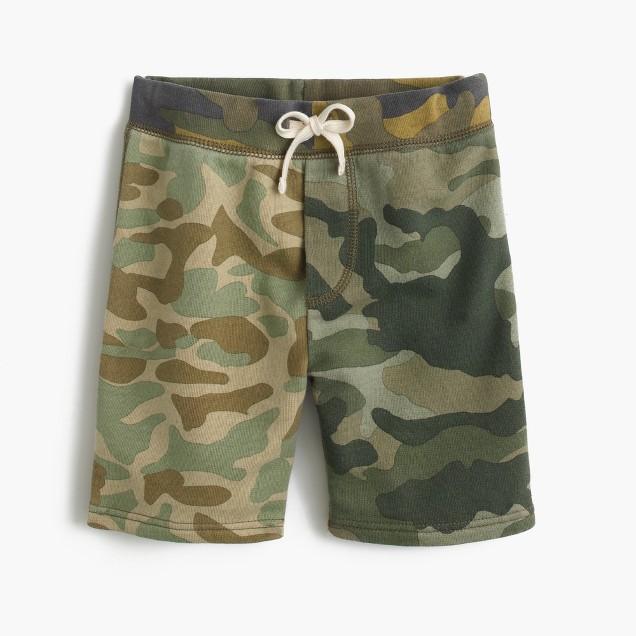 Boys' pull-on sweatshort in camo combo