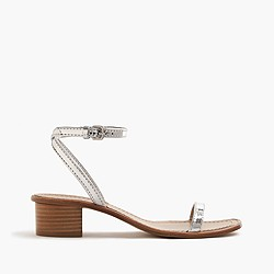 Metallic block-heel sandals